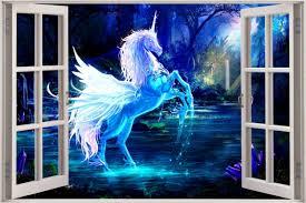28 unicorn wall murals decorating theme bedrooms maries unicorn wall murals huge 3d window view fantasy unicorn pegasus wall sticker