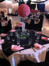 paris theme black white and pink table arrangement chair