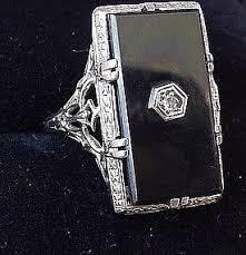 18ct white gold onyx u0026 diamond art deco filigree ring item 796501