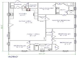 ranch home floor plans 4 bedroom texas barndominium floor plans 40x50 metal building house plans