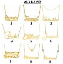 gold necklace with name in cursive gold name necklace ebay