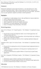 Up Resume Professional Apartment Leasing Agent Templates To Showcase Your