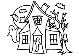 printable spooky house haunted house coloring book page free draw to color
