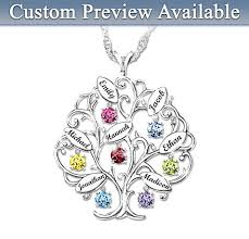 personalized family tree necklace personalized family tree birthstone necklace with engraved names