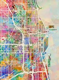 chicago map streets chicago city map digital by michael tompsett