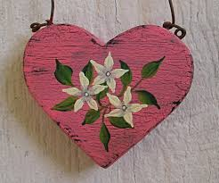 primitive folk art pink jasmine heart christmas tree ornament original