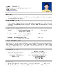 Chemical Engineering Internship Resume Samples by Stunning Philippine Resume Format 89 For Modern Resume Template
