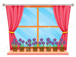 Window Sill Curtains Illustration Of A Window Sill With Flowers Royalty Free Cliparts