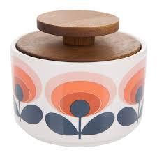 Orange Kitchen Accessories orla kiely handmade vintage retro kitchen storage sugar canister