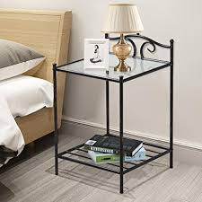 bedside table amazon amazon com topeakmart 2 tier metal night stand antique bedside