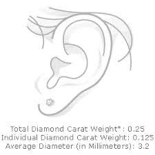 diamond stud size view earring on ear