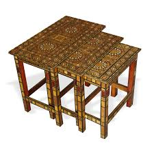 Nesting Dining Table Show Details For Style 1076 Damascene Mosaic Nesting Tables