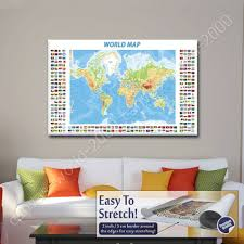World Map Prints by Canvas Gift Physical Modern Flags World Map Paintings Wall Art