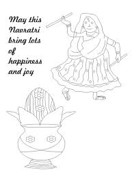 navratri dance printable coloring page for kids 2