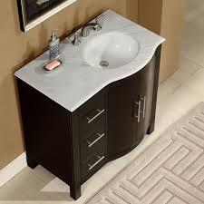 off center sink bathroom vanity amazon com silkroad exclusive carrara white marble top off center