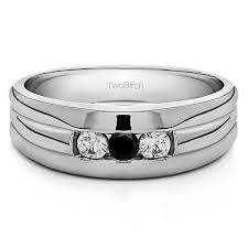weddings 10k 10k white gold three men s wedding ring with black and white