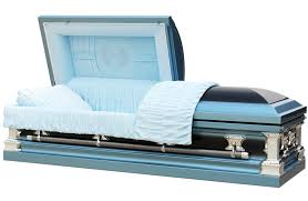 blue casket light blue and finish with light blue interior
