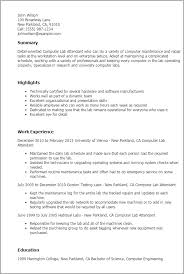 Lab Resume Professional Computer Lab Attendant Templates To Showcase Your