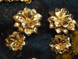 earrings with statement necklace images Vintage sonia rykiel bijoux golden flower statement necklace and JPG