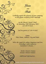 online marriage invitation card wedding invitation card rectangle potrait gold black floral