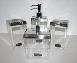 Discounted Bathroom Accessories by New Hotel Balfour 4 Pc Set Clear Acrylic Soap Dispenser Tumbler