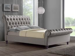 Grey Sleigh Bed Birlea King Size Grey Fabric Bed Frame Home