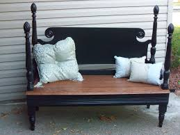 headboard and footboard repurposed into a bench country style