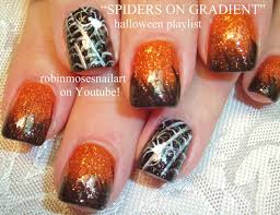halloween nails orange and black ombre tutorial with spiderweb