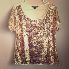 60 express tops sheer gold sequin top from bobbie s