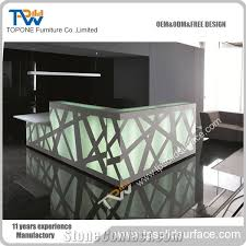 led light desk l custom design l shape modern led light acrylic solid surface stone