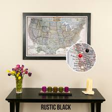Map Pins Personalized Executive Us Travel Map With Pins And Frame