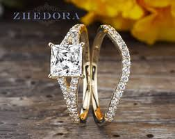 gold bridal set princess cut bridal set in real 14k 18k white gold 2 0 tcw