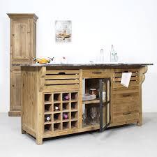 meuble ilot cuisine îlot central bois massif comportant un range bouteille made in