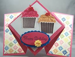 create a cupcake fancy fold card sting country