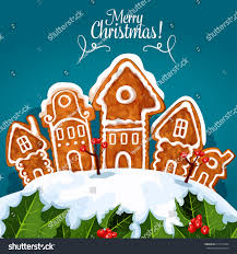 merry celebration poster vector gingerbread stock vector