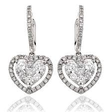 heart shaped earrings brilliant cut diamond heart shape cluster drop earrings 1 40ct