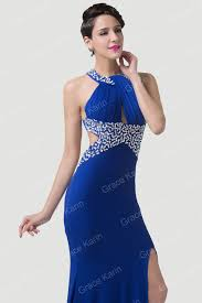 grace karin long mermaid evening dress split side royal blue party