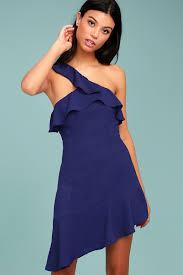 cute royal blue dress one shoulder dress sheath dress