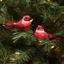 pack of 12 red and dark burgundy smoke spotted bird christmas