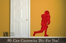 custome name football player silhouette with name and words a custome name football player silhouette with name and words a wall decor vinyl decal digital print 2466