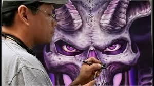 nick lee airbrushing on count u0027s kustoms art panels youtube