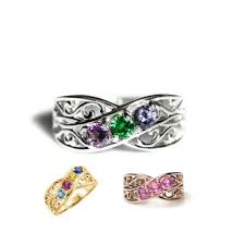 2 mothers ring filigree lined s ring family birthstone with 1 2 3