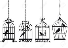 ornamental vintage birdcages with birds vector background royalty