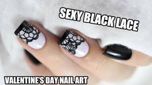 how to black lace valentine u0027s day nail art marine loves
