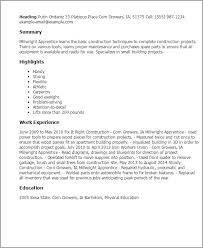 professional millwright apprentice templates to showcase your