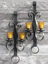 Candelabra Wall Sconces Huge Vintage Wrought Iron Candle Sconces Wall Candelabra Pair