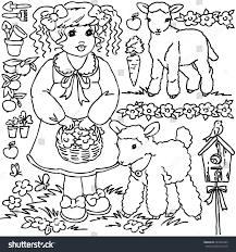 farm animal coloring book coloring book cartoon farm animals vegetables stock illustration