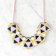 bib necklace images Handmade geometric bib necklace pink by sn rk jpg