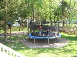 Best Backyard Trampolines Backyard Trampoline Original Trampoline In Backyard Mulch Area