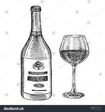 hand drawn vector sketch bottle glass stock vector 670343038